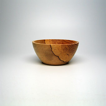 "Small Bowl, Spalted Red Oak: 2 5/8""h x 5 5/8""w x 5 5/8""d."