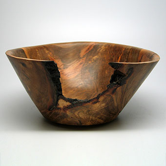 "Bowl with exclusion, Sweet Gum: 4""h x 8 7/8""w x 8""d. 2017."
